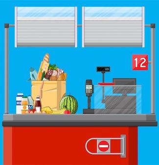 Kassa werkplek. supermarkt interieur