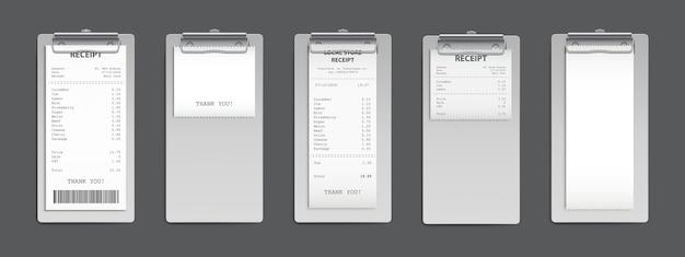Kassabon op klembord, aankoopfactuur, supermarkt winkelen kleinhandelssumcontrole en totale kosten winkelverkoopbetaling, leeg en gevuld leeg geïsoleerd. realistische 3d-vector set
