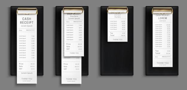 Kassabon op zwart klembord, aankoopfactuur, supermarkt winkelen kleinhandelsbedrag