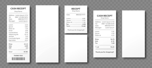 Kassabon, papieren factuur, aankoopfactuur, supermarkt winkelen kleinhandelssum cheque en totale kosten winkelverkoop betaling, leeg en gevuld leeg geïsoleerd op transparante achtergrond. realistische 3d-set