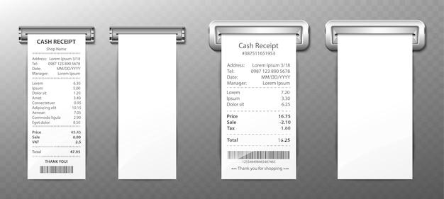 Kassabon uit luiheid, papieren factuur, aankoopfactuur, cheque van de detailhandel met totale kosten van geld, betaling in winkelverkoop. lege en gevulde geïsoleerde spaties. realistische 3d-vector set