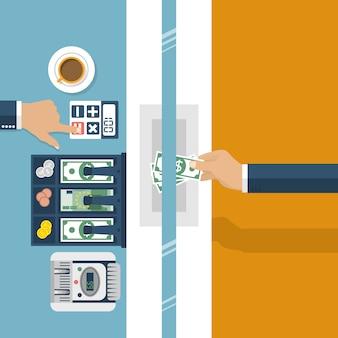 Kassier in de bank. werkbank, financieel specialist, contant geld, wisselkantoor