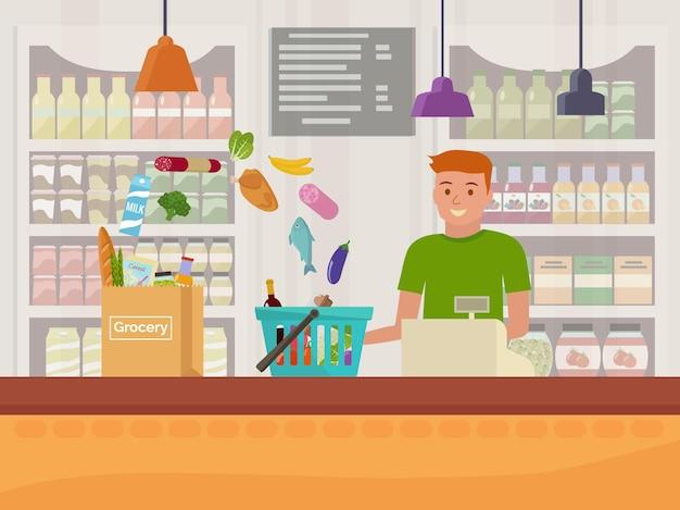 Kassier in de supermarkt. vlak