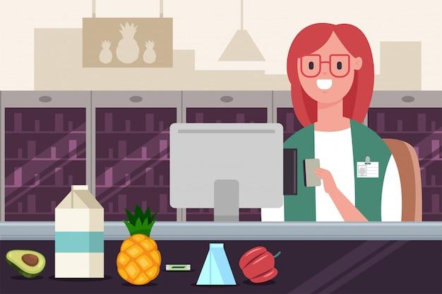 Kassier in de supermarkt werkt bij de kassa met een creditcard. vector cartoon platte illustratie van een vrouw personage in een winkel.