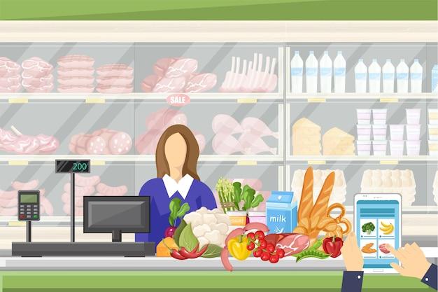 Kassier in de supermarkt