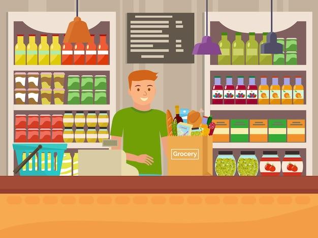 Kassier in supermarkt flat