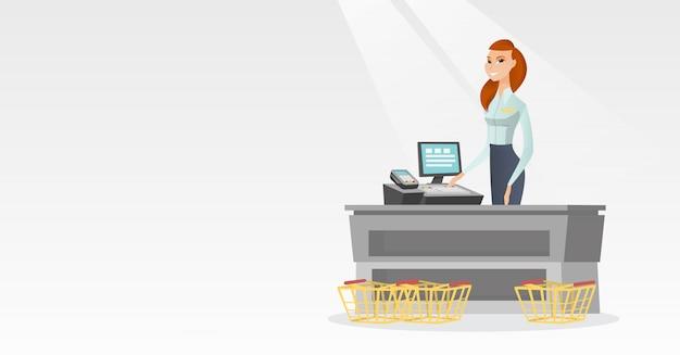 Kassier permanent aan de kassa in een supermarkt.