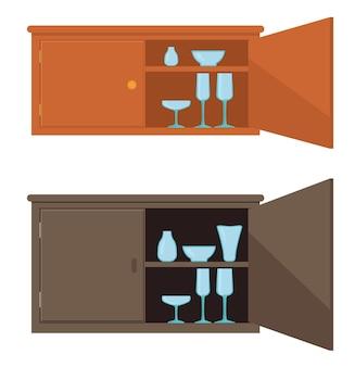 Kast instellen vectorillustratie. kledingkast met een licht open deur en servies op de planken