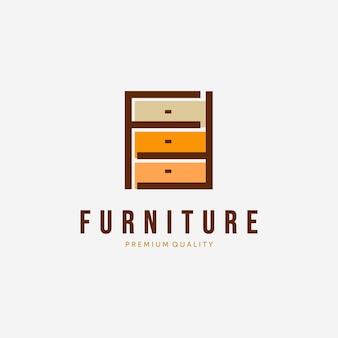 Kast logo vector design vintage, illustratie van minimalistische meubels, gewoon interieurconcept