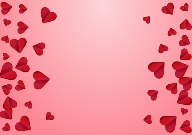 Kastanjebruine kleur hart vector roze achtergrondkleur. knip confetti patroon. rode decoratie harten textuur.