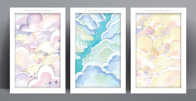 Kasteel aquarel panorama in pastel kleuren romantische droomwereld illustratie