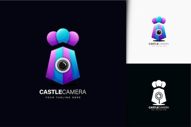 Kasteel camera logo-ontwerp met verloop