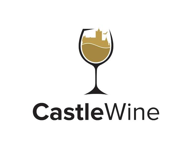Kasteel en glas wijn eenvoudig strak creatief geometrisch modern logo-ontwerp