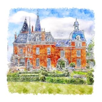 Kasteel frankrijk aquarel schets hand getrokken illustratie
