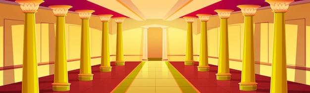 Kasteel gang met gouden kolommen paleis lege colonnade interieur met gouden antieke pilaren en betegelde vloer middeleeuws gebouw architectuur ontwerp balzaal of zaal cartoon afbeelding