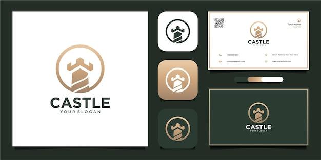 Kasteel logo-ontwerp met visitekaartje