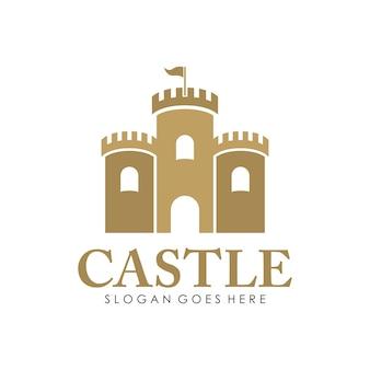 Kasteel logo, pictogram en illustratie ontwerpsjabloon