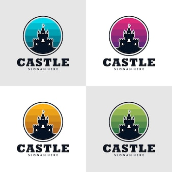 Kasteel logo pictogram ontwerp template.vector afbeelding