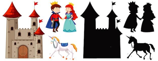Kasteel met prins en prinses en paard in kleur en silhouet op wit wordt geïsoleerd