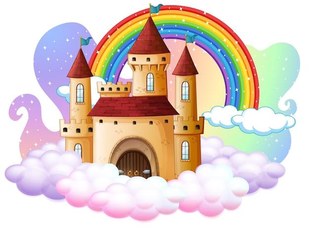 Kasteel met regenboog op de wolk op wit wordt geïsoleerd