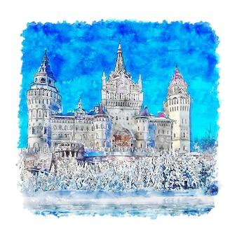 Kasteel moskou rusland aquarel schets hand getrokken