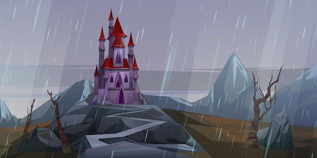 Kasteel op rots bij regenachtig weer