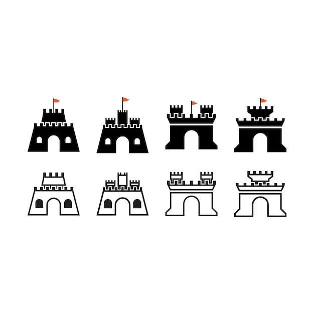 Kasteel pictogram ontwerp sjabloon vector geïsoleerde illustratie