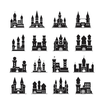 Kasteel silhouetten. middeleeuwse vesting oude torens platte gebouwen koninkrijk. illustratie kasteel met toren, bolwerk silhouet