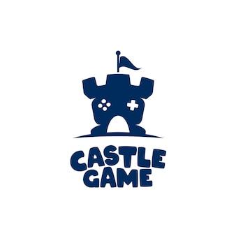 Kasteel spel logo ontwerpsjabloon concept controller