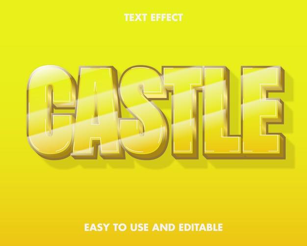 Kasteel-teksteffect. bewerkbare tekenstijl.