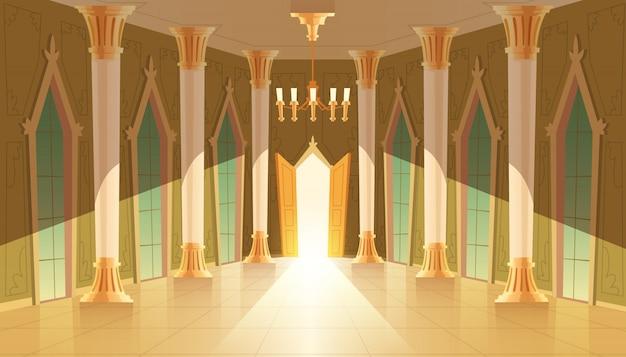 Kasteelzaal, interieur van balzaal om te dansen, presentatie of koninklijke ontvangst.