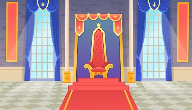 Kasteelzaal met een koningstroon en ramen. artoon illustratie.