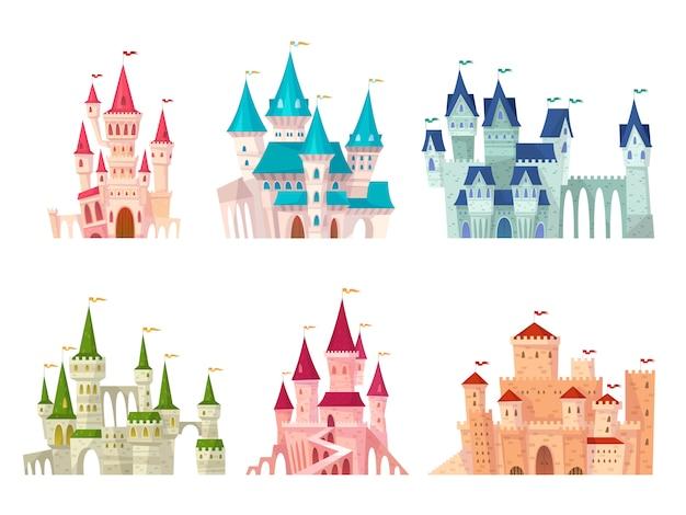 Kastelen ingesteld. middeleeuws kasteel torens sprookjesachtig herenhuis fort versterkte paleis poort oude gotische citadel cartoon set