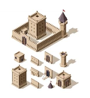 Kastelen isometrisch. creatie kit van middeleeuwse gebouwen, muren, poorten, torens van oude kastelen, architectonische troeven voor games