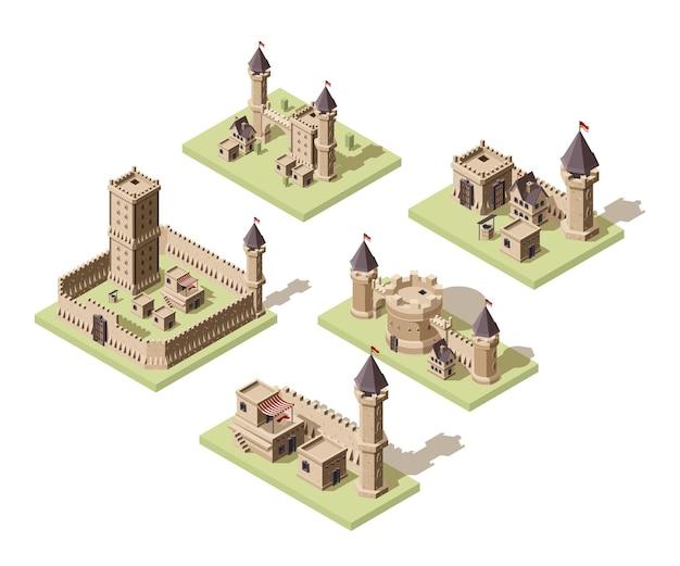 Kastelen laag poly. videogame isometrische activa middeleeuwse gebouwen van oude rotsen en bakstenen 3d huizen oud fort.