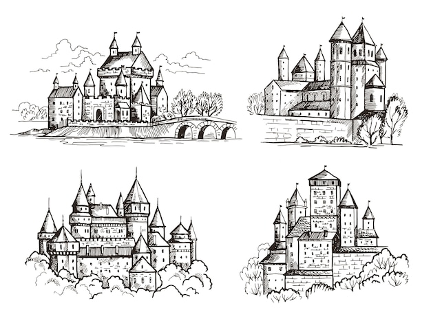 Kastelen. middeleeuwse gebouwen voor ridders tsjechië vintage kastelen oude praag architectonische constructie hand getekende set. kasteel met toren, gotische beroemde illustratie van het schetsoriëntatiepunt