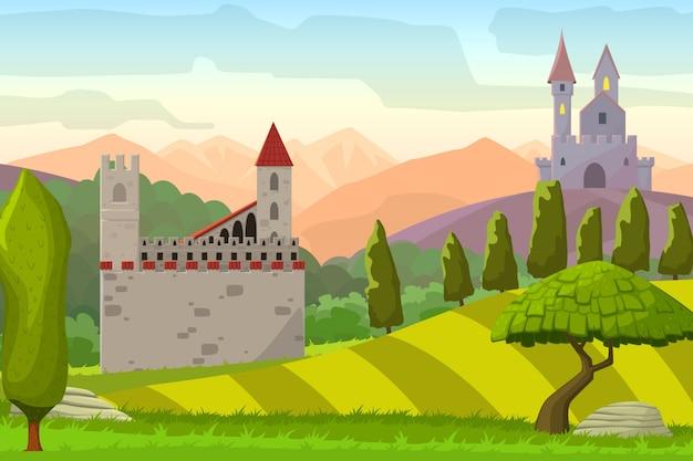 Kastelen op heuvels middeleeuwse landscapevector cartoon illustratie