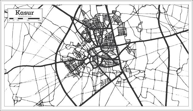 Kasur pakistan stadsplattegrond in zwart-witte kleur. vectorillustratie. overzicht kaart.