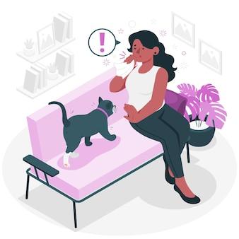 Kat allergie concept illustratie