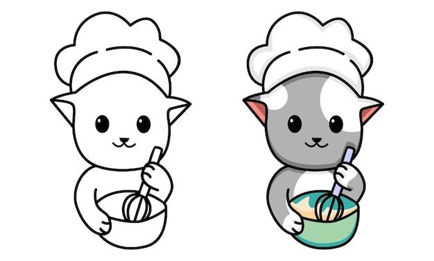 Kat bakkerij chef kleurplaat voor kinderen