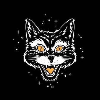 Kat brult met zwart-wit stijl