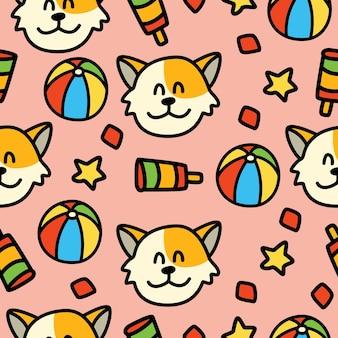 Kat cartoon doodle naadloze patroon ontwerp