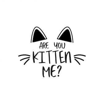 Kat citaat belettering typografie