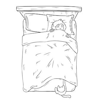 Kat die benen vangen onder de deken
