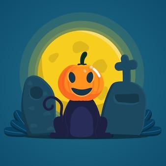 Kat die halloween pumpkin-masker draagt die bij de nacht van grafsteenhalloween zitten
