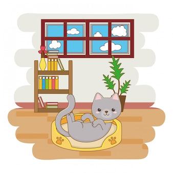 Kat die op zijn bed, beeldverhaalillustratie ligt