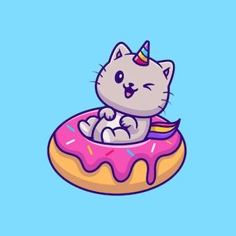 Kat eenhoorn met donut stripfiguur. dierlijk voedsel geïsoleerd.