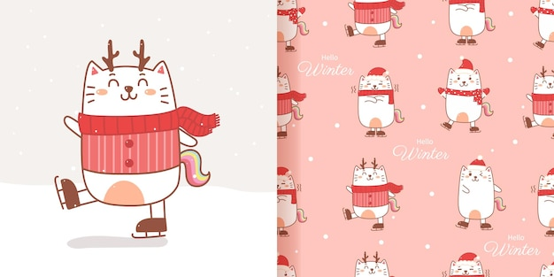 Kat eenhoorn patroon naadloze cartoon hand tekenen voor kerstmis