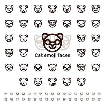 Kat emoji gezichten lijn