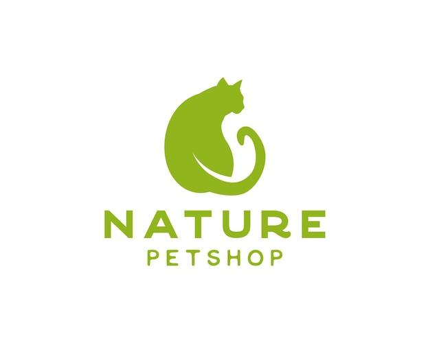 Kat en blad dubbele betekenis logo natuur dierenwinkel of dierenverzorging logo ontwerpsjabloon